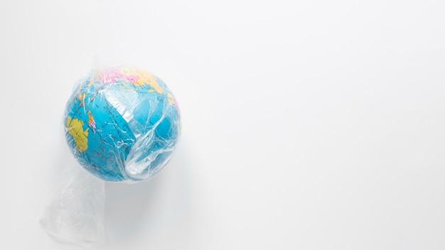 Vista superior do globo com espaço de cópia