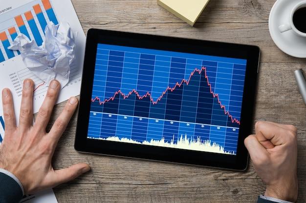 Vista superior do gráfico financeiro decrescente no tablet digital.