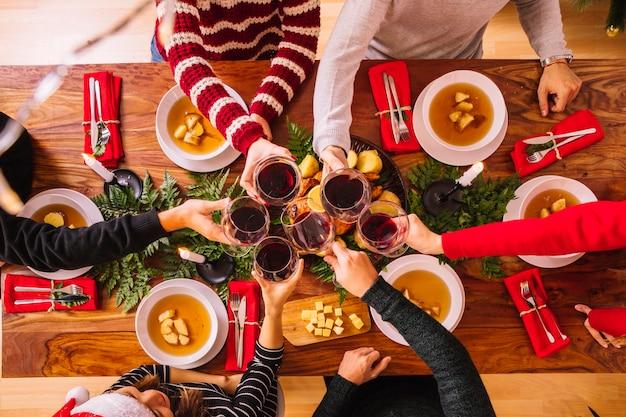 Vista superior do jantar de natal