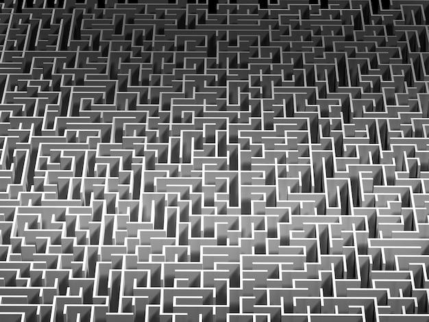 Vista superior do labirinto. 3d render.