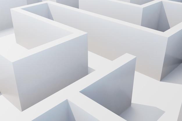 Vista superior do labirinto branco.
