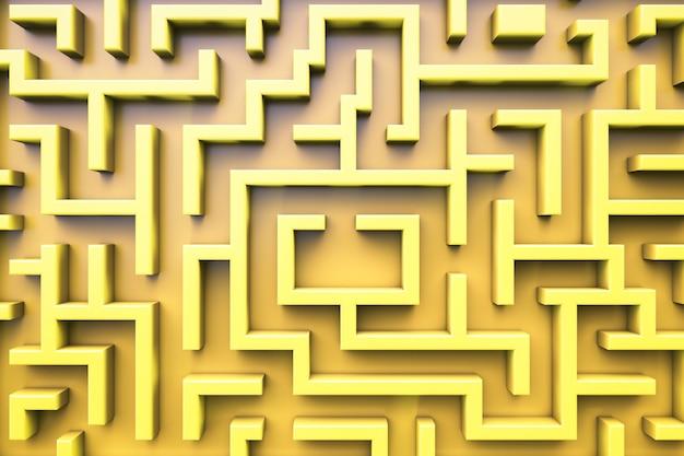 Vista superior do labirinto. tema amarelo.