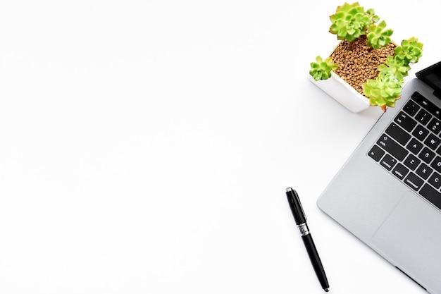 Vista superior do laptop, suculentas e caneta sobre fundo branco, com espaço de cópia