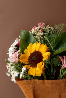 Vista superior do lindo buquê de flores