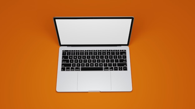 Vista superior do macbook isolada em foto premium com fundo laranja