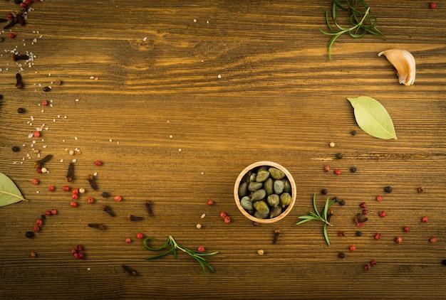 Vista superior do maquete de mistura de especiarias