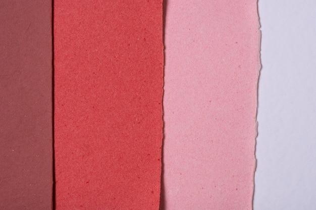 Vista superior do material de papel
