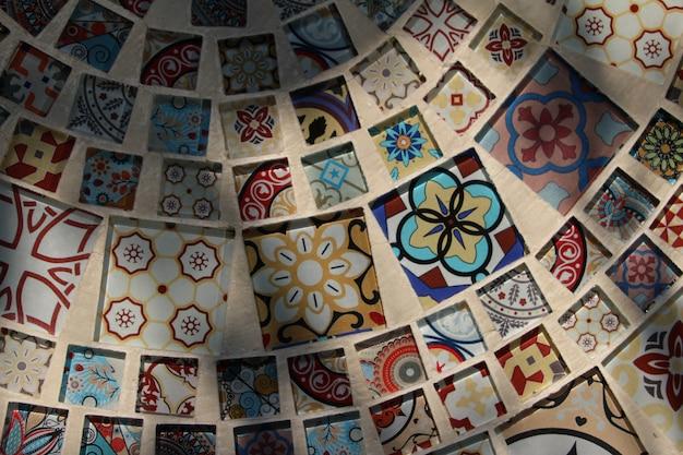 Vista superior do mosaico de azulejos