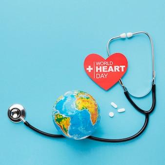 Vista superior do mundo coração dia conceito
