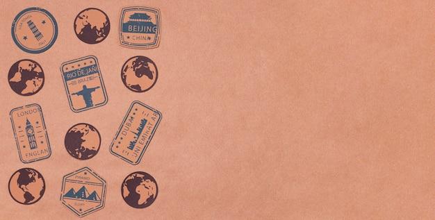 Vista superior do mundo turismo dia logotipos com espaço de cópia