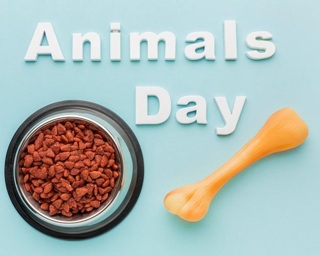Vista superior do osso com tigela de comida para o dia do animal
