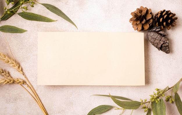 Vista superior do papel em branco com pinhas e folhas de outono