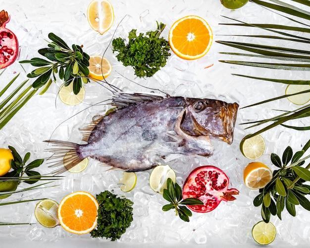 Vista superior do peixe cru colocado no gelo, rodeado com fatias de frutas