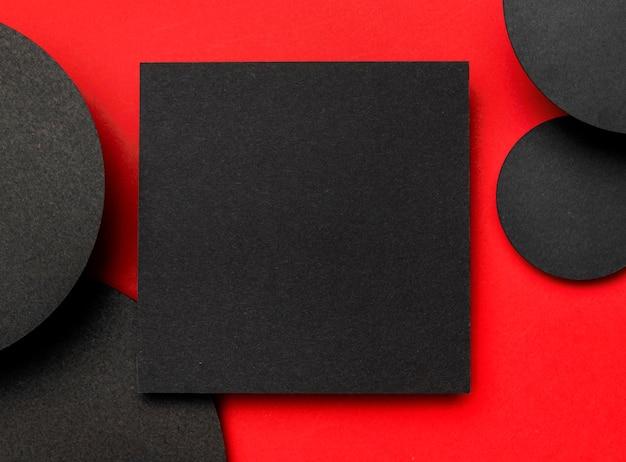 Vista superior do plano de fundo preto e vermelho
