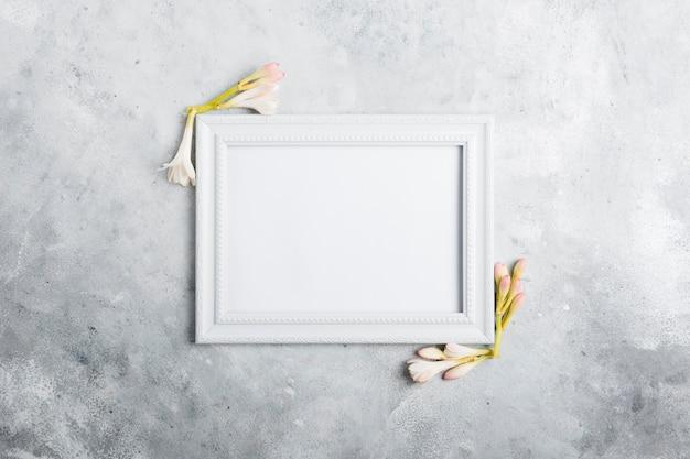 Vista superior do quadro com orquídeas de primavera