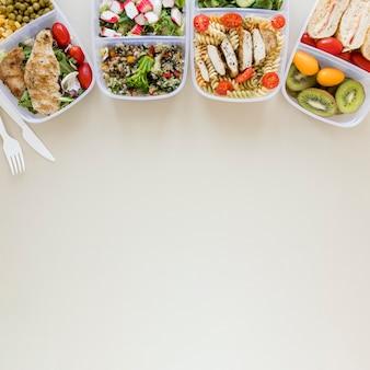 Vista superior do quadro comida deliciosa
