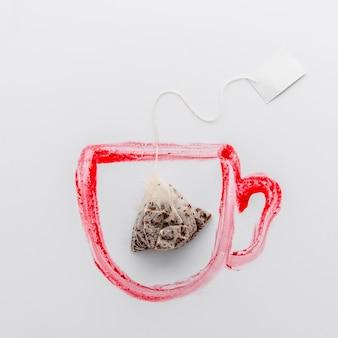 Vista superior do saquinho de chá