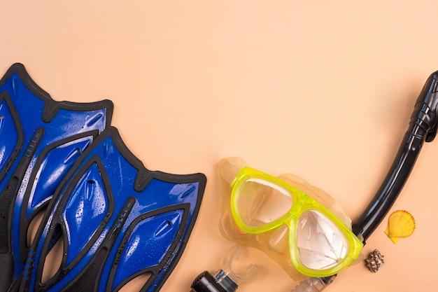 Vista superior do snorkel e da nadadeira em um fundo de cor.