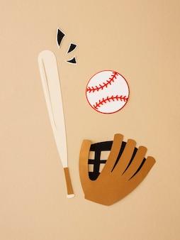 Vista superior do taco de beisebol com luva e bola