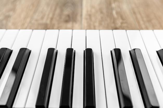 Vista superior do teclado de piano