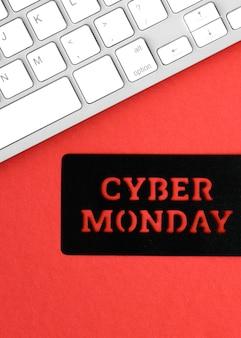 Vista superior do teclado para cyber segunda-feira