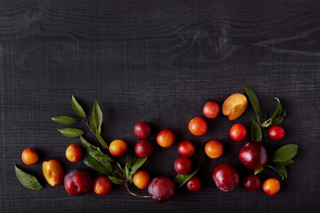 Vista superior do verão maduro fruto brilhante sai de suas árvores, estando no fundo de toda a composição. vários tipos de ameixas de cereja deitado na superfície escura de madeira. copyspace para propaganda.