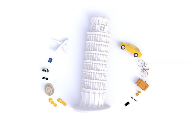 Vista superior dos acessórios do viajante abstrato fundo branco mínimo