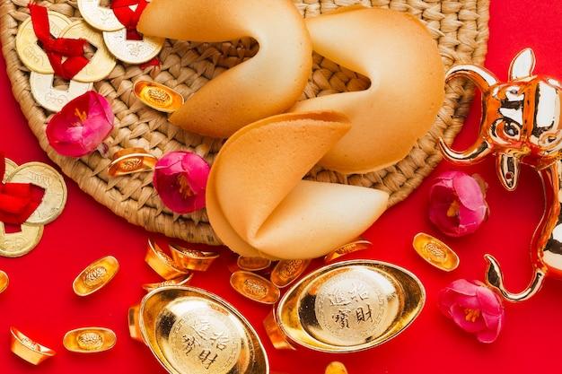 Vista superior dos biscoitos da sorte chineses de ano novo de 2021