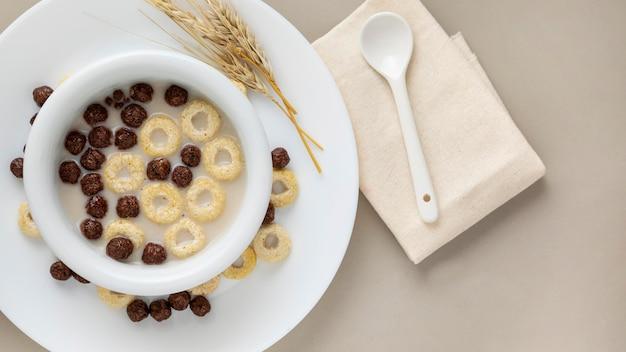 Vista superior dos cereais matinais em uma tigela com leite