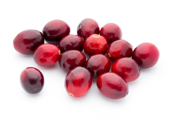 Vista superior dos cranberries. visão macro dos cranberries vermelhos, maduros.
