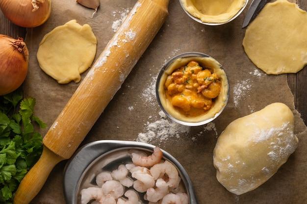 Vista superior dos ingredientes da comida brasileira
