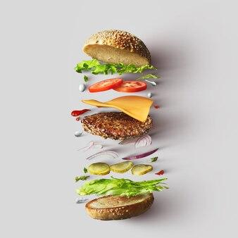Vista superior dos ingredientes do hambúrguer representados contra um fundo branco. hambúrguer ou sanduíche com queijo, tomate, carne, etc. vista superior