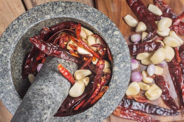 Vista superior dos ingredientes para fazer pasta de pimentão