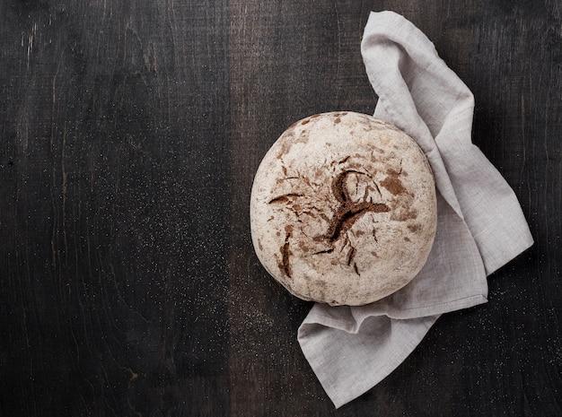 Vista superior e pão de bom gosto delicioso
