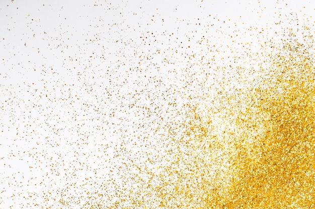 Vista superior elegante fundo glitter dourado