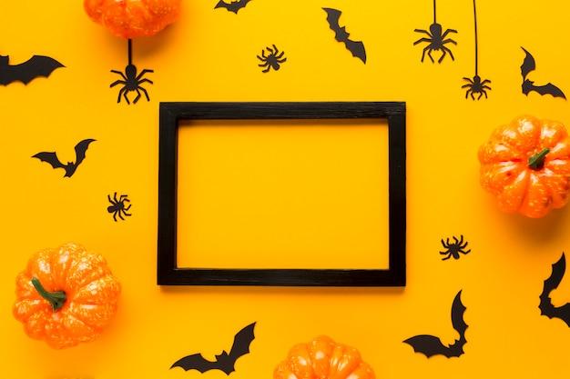 Vista superior elementos de festa de halloween