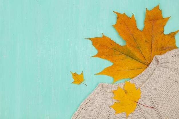 Vista superior em bordo de outono amarelo sobre fundo de madeira turquesa.