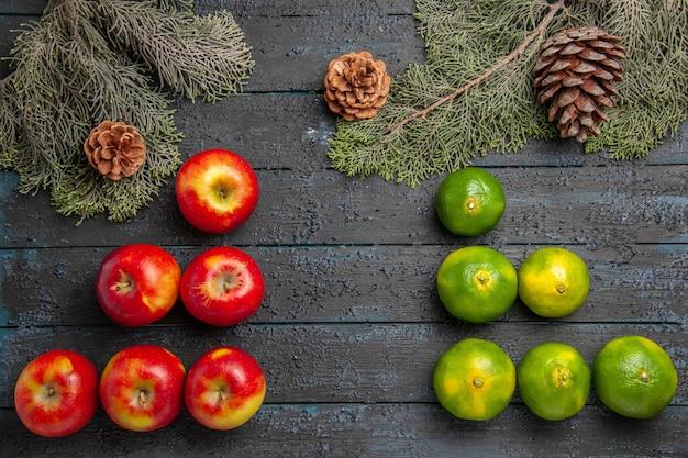 Vista superior em close-up de maçãs e limas, seis maçãs amarelo-avermelhadas e seis limas na superfície cinza ao lado dos ramos e cones de abeto