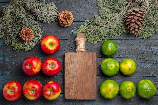Vista superior em close-up do quadro de maçãs, limas, seis tábuas de corte de maçãs amarelo-avermelhadas e seis limas na superfície cinza ao lado dos ramos e cones de abeto
