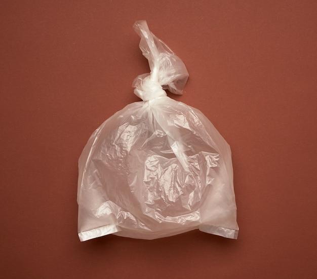 Vista superior em saco plástico transparente