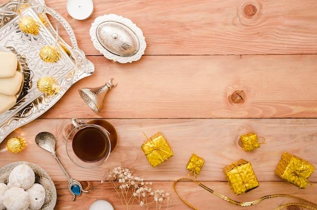 Vista superior espaço de cópia de tempo de chá árabe