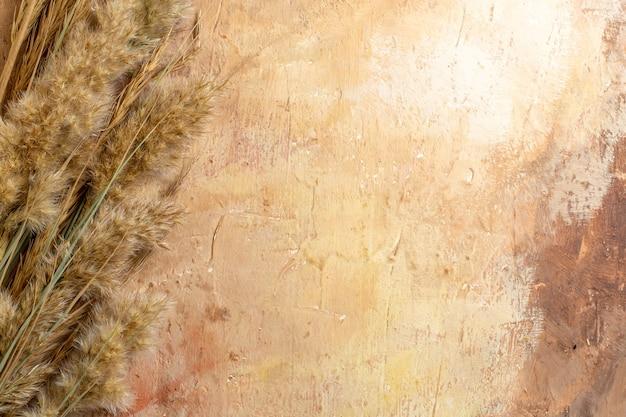 Vista superior espiguetas marrons na mesa