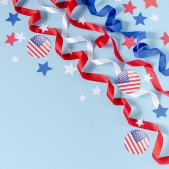 Vista superior eua bandeira, fitas e estrelas