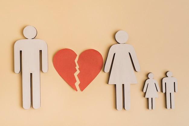 Vista superior família formas humanas