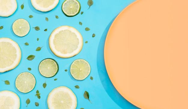 Vista superior fatias de limão e limão com placa