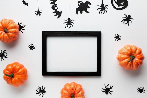 Vista superior festa de halloween elemetns