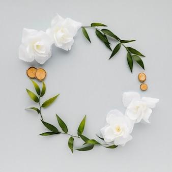Vista superior floral coroa