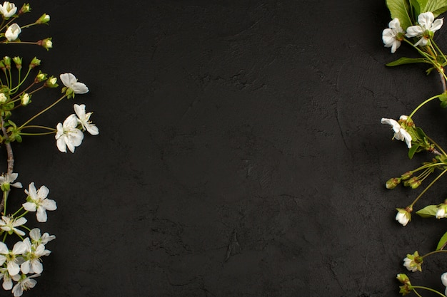 Vista superior flores brancas no chão escuro