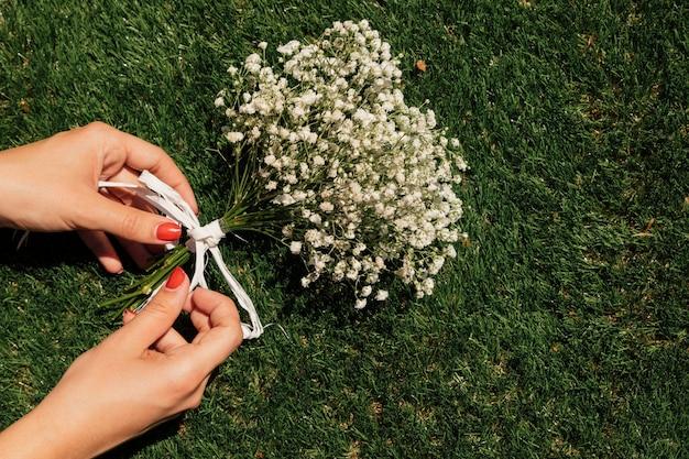 Vista superior flores com as mãos