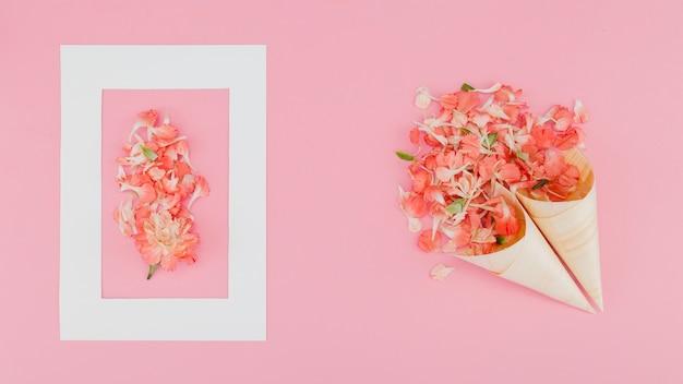 Vista superior flores com moldura